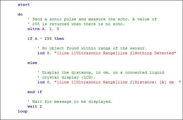 Código de programação de um microcontrolador