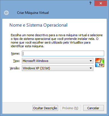 VirtualBox - Nova VM 1