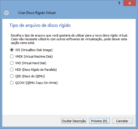 VirtualBox - Nova VM 4 - tipo de HD