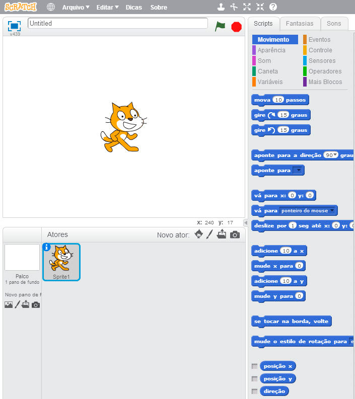 Interface do programa Scratch