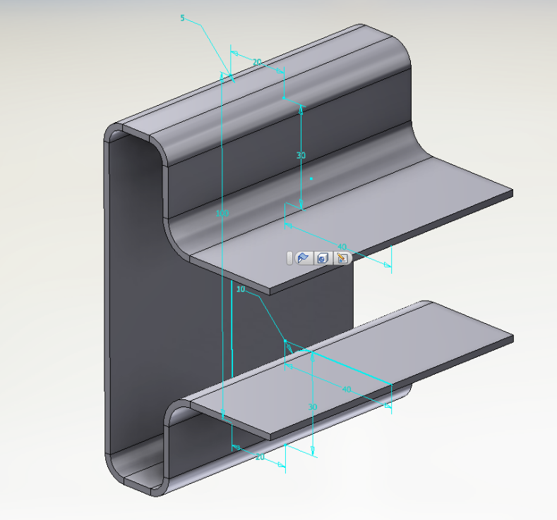 Chapa metálica modelada no Inventor