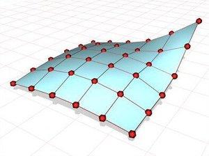 Um exemplo de patches NURBS que codificam uma geometria de superfície curva com precisão. Os pontos vermelhos são os pontos de controle do NURBS.